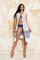 Белое пляжное платье с принтом David DL 6610 42(S) Белый David DL 6610