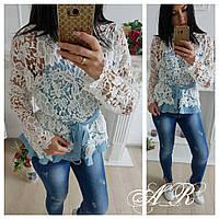 Двухслойная блуза из коттона и кружева с резинкой на талии и съемным поясом 42-46 р