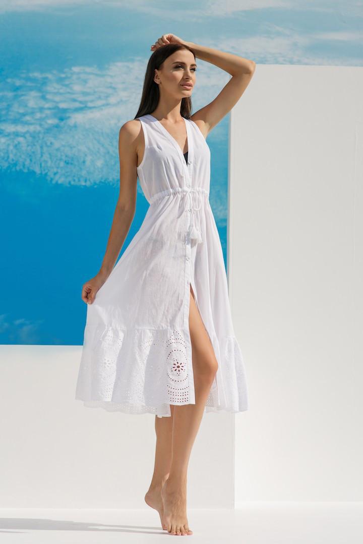 944adf48462 Белое пляжное платье без рукавов Ora 18070 4 42(S) Белый Ora 18070 4 ...