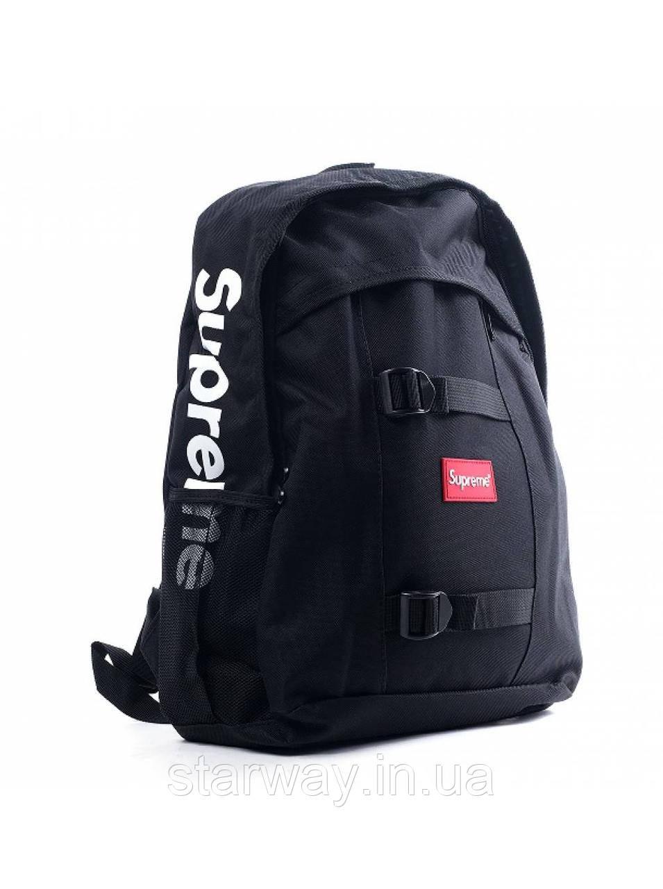 Рюкзак чёрный Supreme logo | Оригинальная бирка