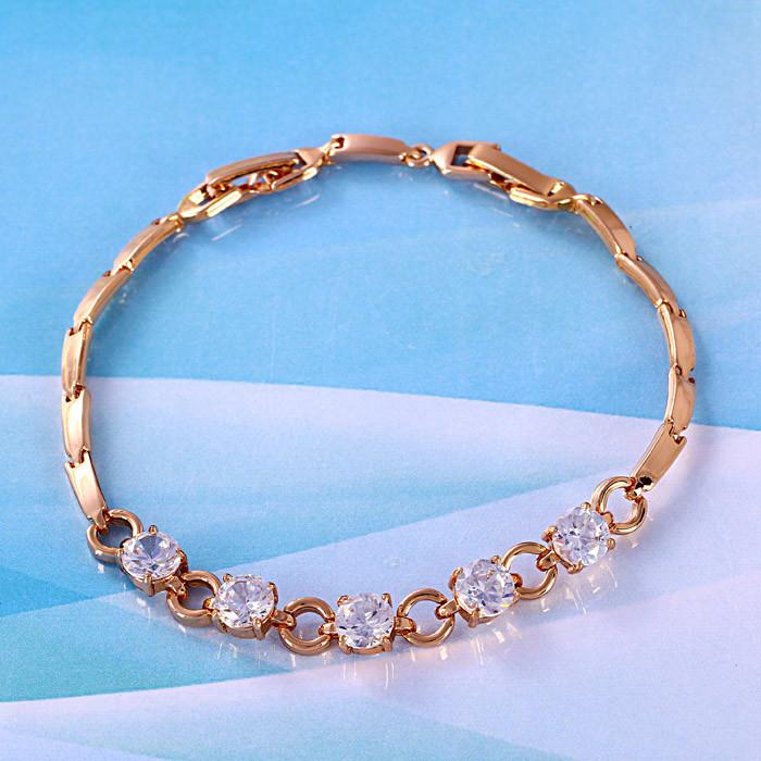 Элегантный браслет золото с 5 фианитами