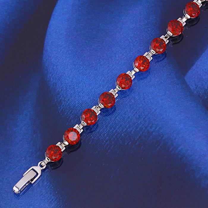 Родированный браслет Sofique с красными фианитами 71416