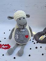 Именная игрушка овечка с метрикой, мягкая игрушка ручной работы