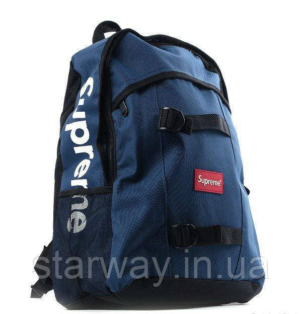 Рюкзак тёмно-синий Supreme logo | Оригинальная бирка