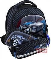 Школьный ранец детский рюкзак для мальчика DeLune 3 в 1 с часами пеналом и мешком для обуви