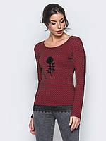 Комфортный трикотажный женский джемпер с кружевом 90288/1, фото 1