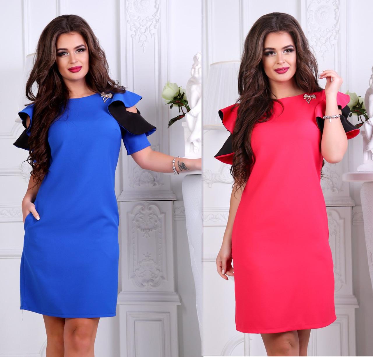 adeaa349f2a Женское короткое платье с рукавом-волан размеры S M L -