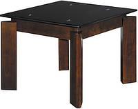 Журнальный столик из натурального дерева и закалённого стекла.