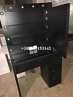 Черный визажный стол с полками за зеркалом. Модель V217 черный, фото 1