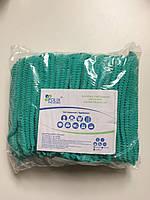 Шапочки одноразовые на двойной резинке Polix PRO&MED (100шт./пач.) из спанбонда ЗЕЛЕНЫЕ, фото 1