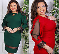 Женское платье с красивым рукавом сеточкой размеры 46-48-50