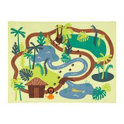 Ковер IKEA DJUNGELSKOG 133x100 см короткий ворс с рисунком джунглей зеленый 603.937.64