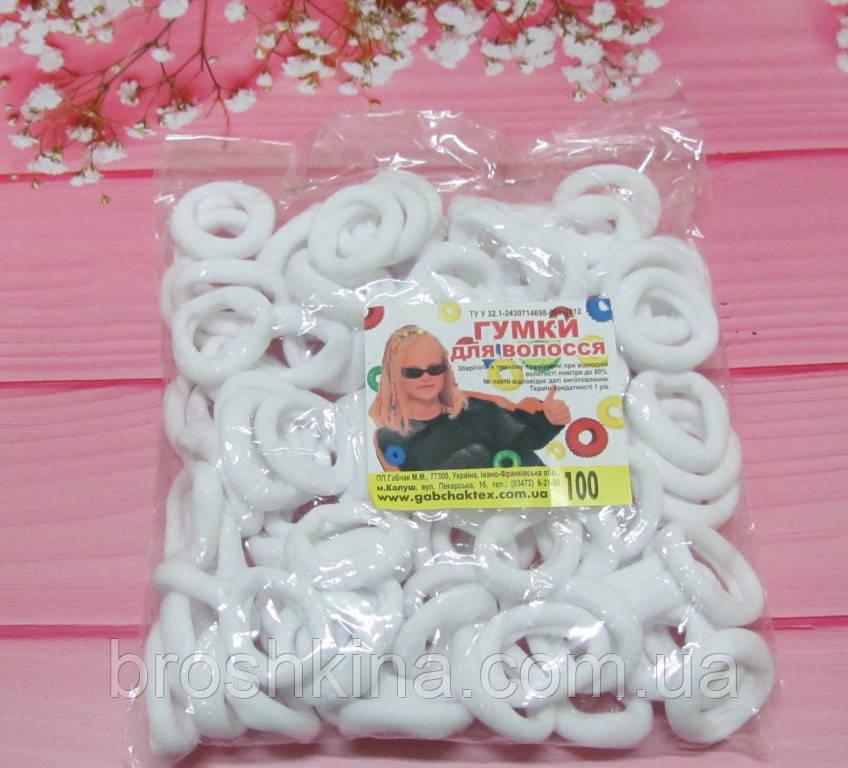 Бесшовная резинка для волос Калуш d 2,7 см 100 шт/уп белая