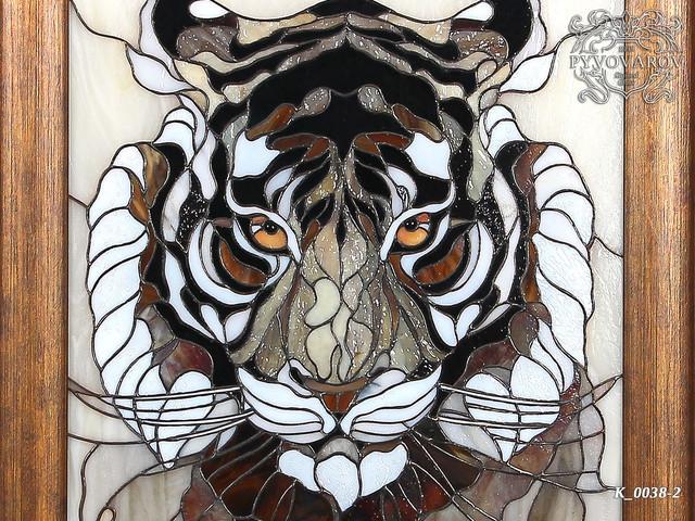 Картина из цветного стекла Тигр