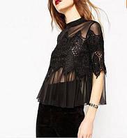 Блузка кружевная черная