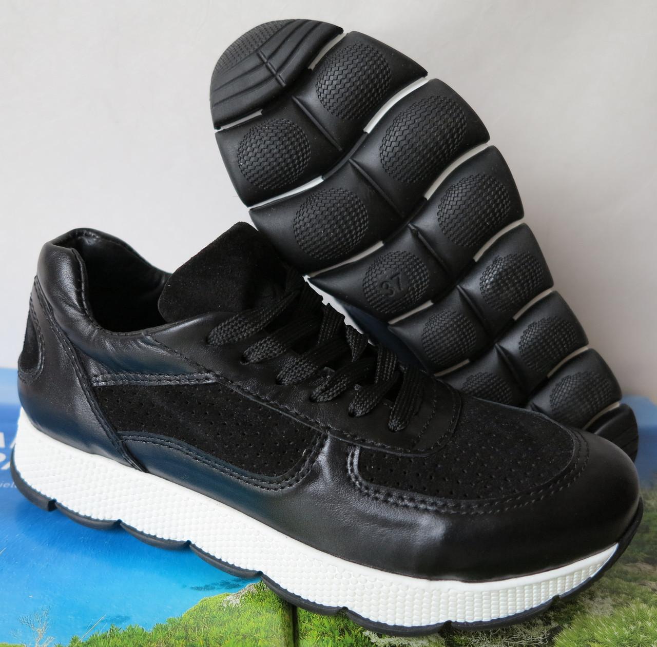 Mante кожаные женские кроссовки черная кожа замша перфорация кеды