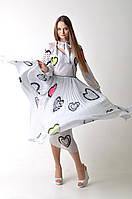 Белое платье в горох с рисунком Dior
