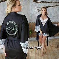 Шелковый комплект модный майка, шорты и халат с кружевом разные цвета 1KXmil04