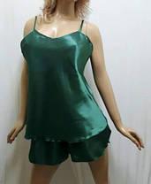 Пижама женская майка шортиками атласная,больших размеров 52-58, фото 3