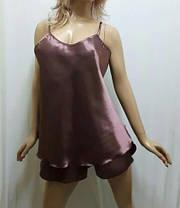 Пижама женская майка шортиками атласная,больших размеров 52-58, фото 2