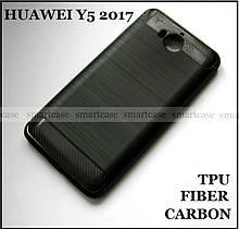 Полноценный защитный бампер, Carbon Fiber TPU чехол для Huawei Y5 2017, не скользкий, черный