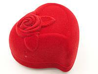 """Футляр для кольца """"Сердце с розой"""" красное"""