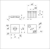 ODF-06-08-01-L20  Коннектор для стекла, квадратный 40*40 мм