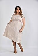Бежевое летнее платье ниже колена 0539-3