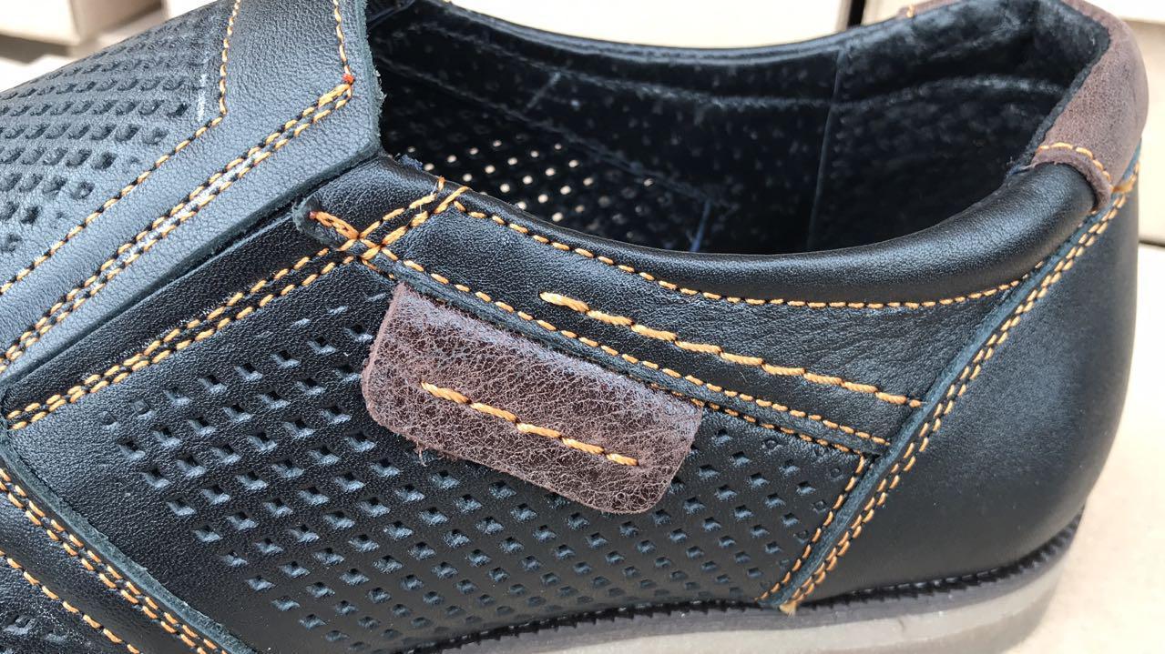 Мужские летние кожаные туфли в дырочку с перфорацией, черные, р.  40, 41, 42, 43, 44, 45