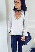 Оригинальная, женская блуза с кружевом, размеры норма: 42, 44. Разные цвета., фото 1