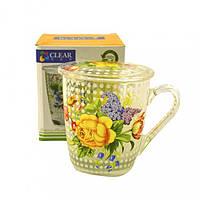 """Кружка чайная заварочная 350мл """"Цветы"""""""