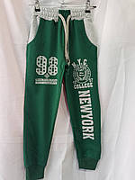 Спортивные подростковые штаны для мальчика 9-12 лет,зеленого цвета