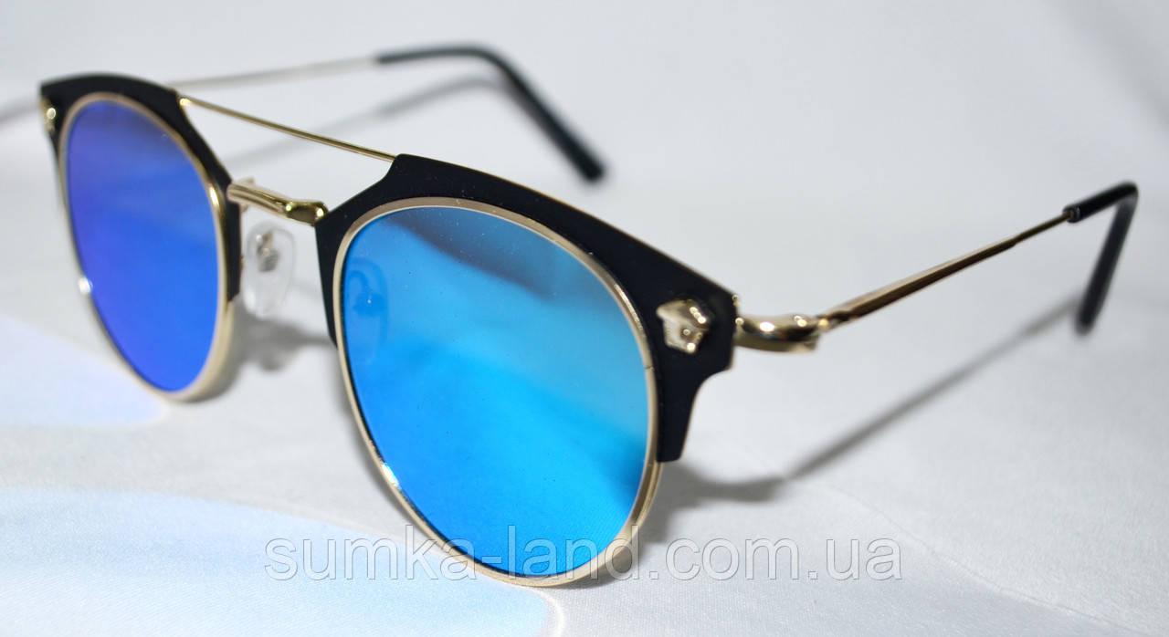 Женские солнцезащитные голубые очки с оправой