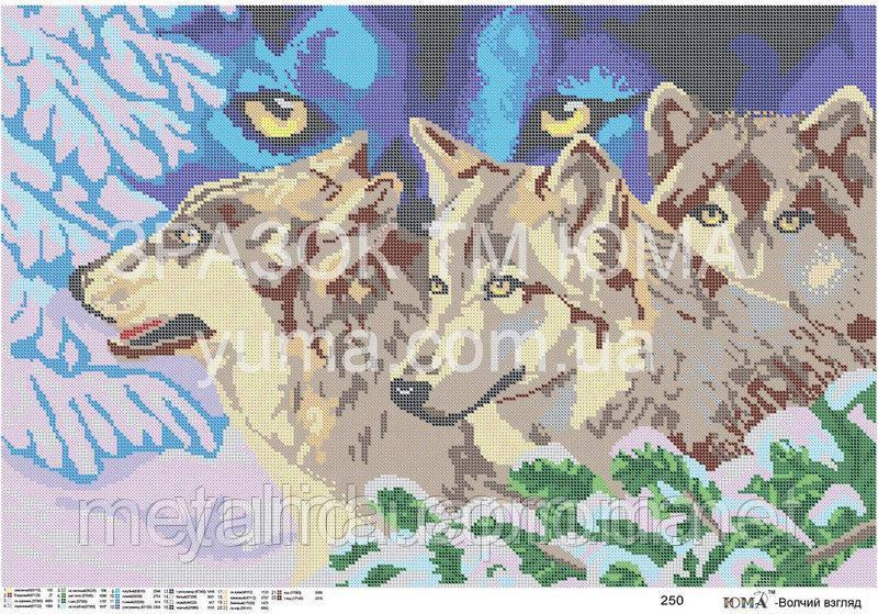 """Схема для частичной вышивки бисером """"Волчий взгляд"""""""