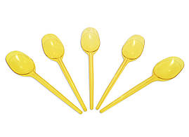 Ложка одноразовая стекловидная желтая (100 штук)