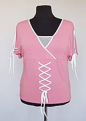 Женская футболка с широким вырезом горловины и короткими рукавами (50-58 р)