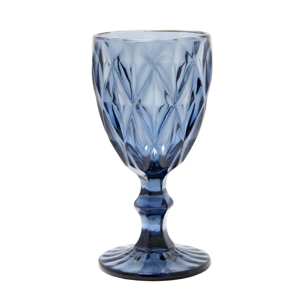 Граненый бокал Изумруд из синего стекла, 250 мл
