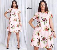 Очаровательное женское платье А-силуэта (креп костюмка цветочный принт, длина мини) РАЗНЫЕ ЦВЕТА!