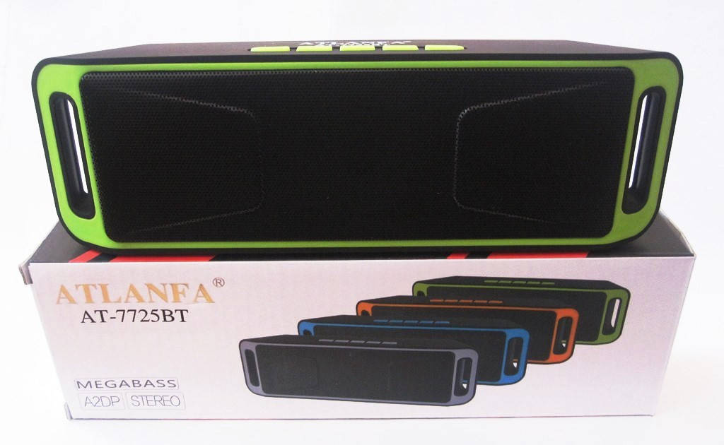 Портативная Bluetooth колонка Atlanfa AT-7725BT MEGA BASS Green