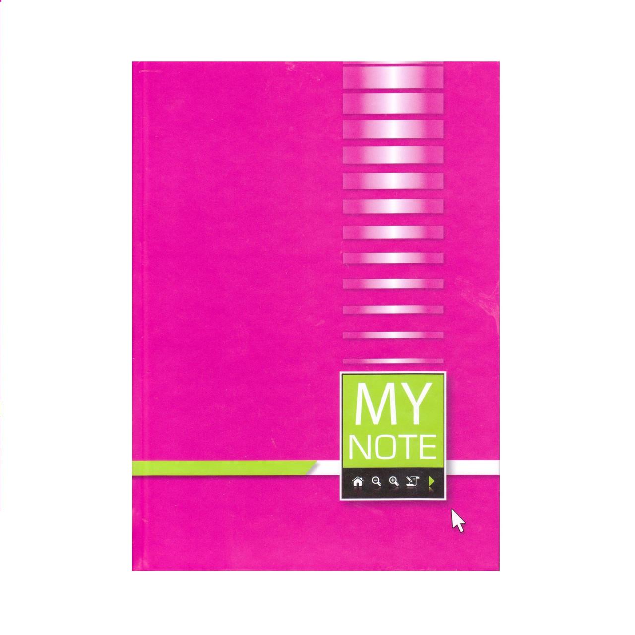 Блокнот А5 твёрдая обложка, 192 листа, малиновый