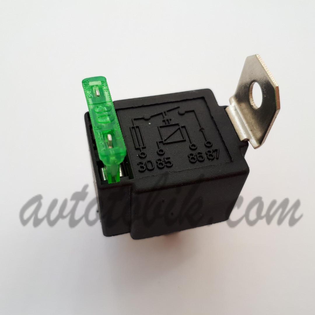 Реле 4-х контактное 12В/30А с предохранителем (Китай)
