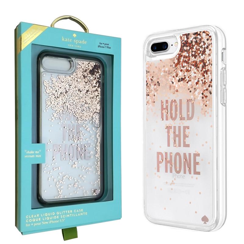Чехол-Накладка Kate Spade Clear Liquid Glitter Case для iPhone 7/8 Plus (KSIPH-051-RGLD-V)