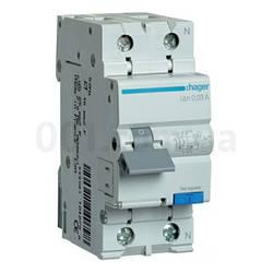 AD866J 1P+N 4.5kA C-16A 30mA тип AC, Дифференциальный автоматический выключатель, Hager