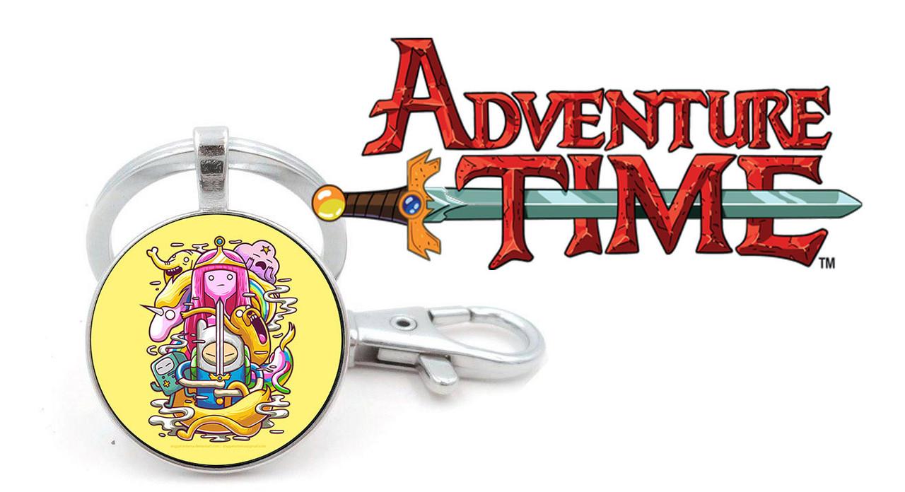 Брелок Adventure time Время приключений на желтом фоне