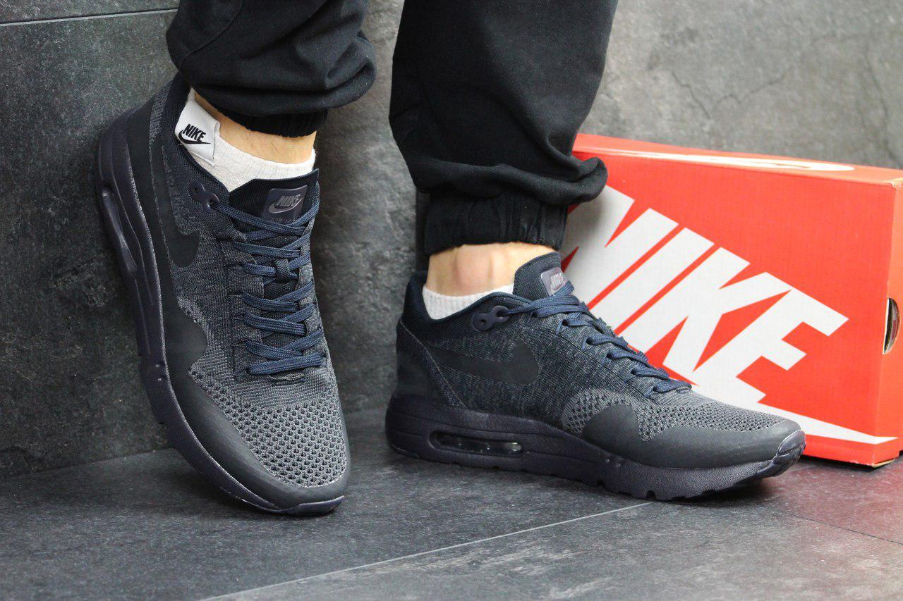 Модные кроссовки Nike Air Max 1 Flyknit, темно синие, летние