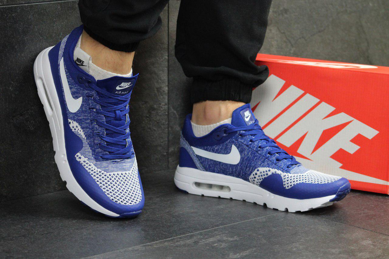 Модные кроссовки Nike Air Max 1 Flyknit,ярко синие, летние