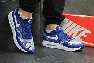 Модные кроссовки Nike Air Max 1 Flyknit,ярко синие, летние 45р