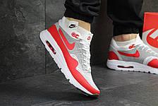 Кроссовки Nike Air Max 1 Flyknit белые с красным,летние, фото 2