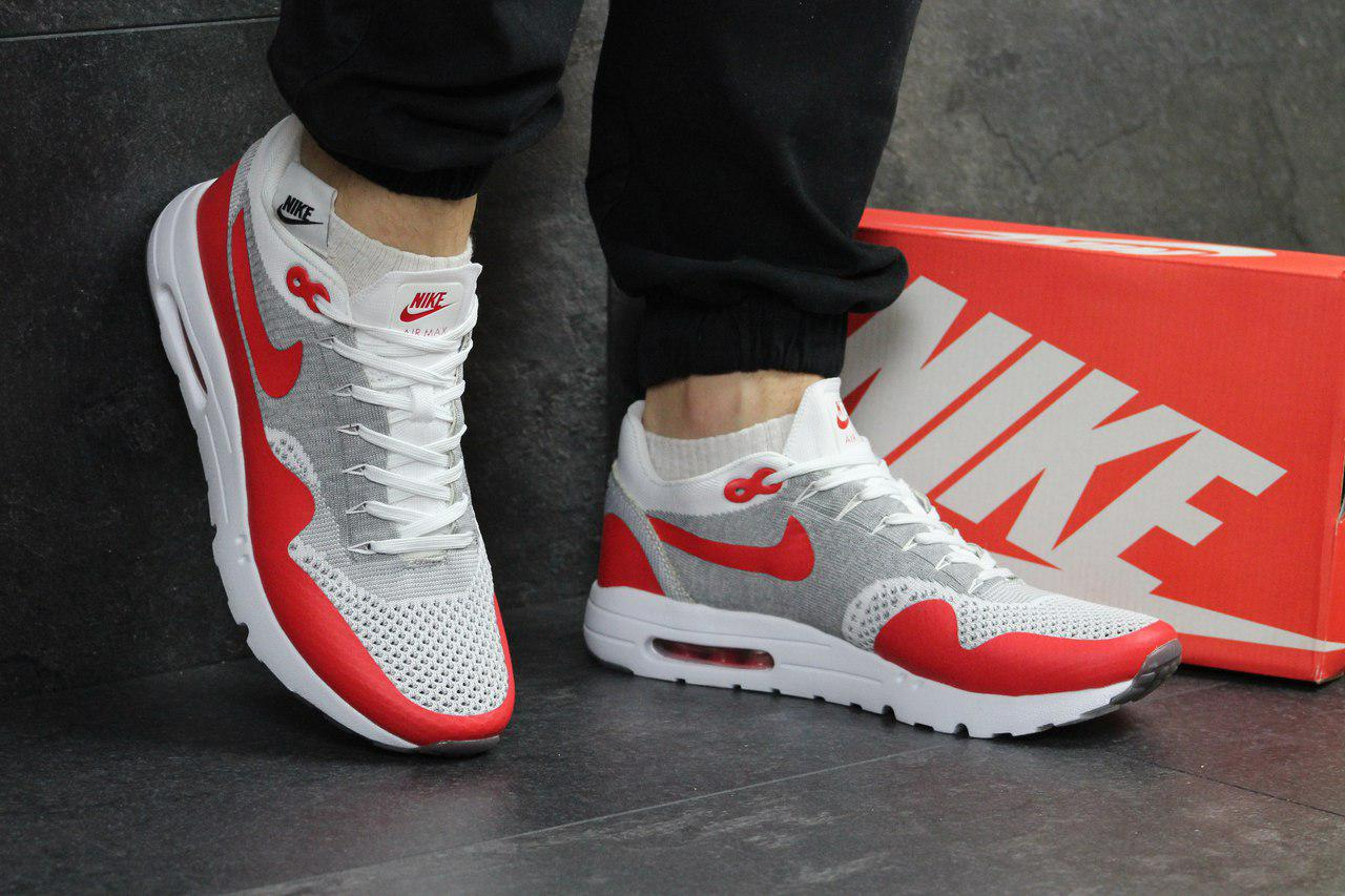 Кроссовки Nike Air Max 1 Flyknit белые с красным,летние
