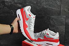 Кроссовки Nike Air Max 1 Flyknit белые с красным,летние, фото 3